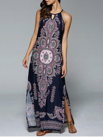 Discount Bohemian Side Slit Tribal Maxi Dress PURPLISH BLUE L