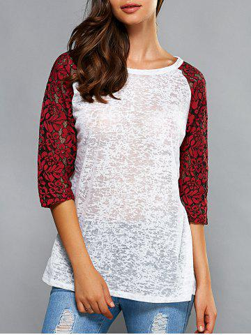 Affordable 3/4 Sleeve Splicing Hollow Out T-Shirt