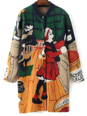 Stand Neck Long Sleeve Cartoon Print Cute Cardigan - Green - One Size