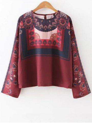 Outfits Round Neck Long Sleeve Vintage Printed Blouse