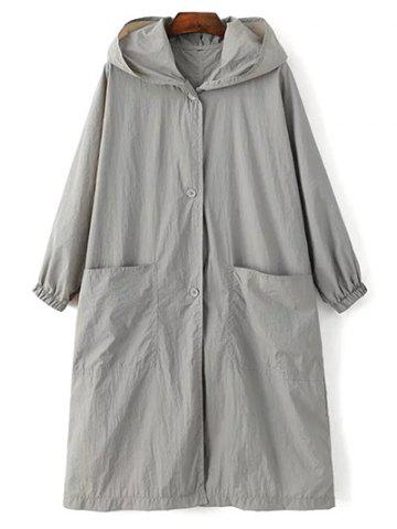 New Long Sleeve Hooded Letter Print Loose Trench Coat