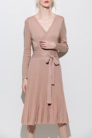 Affordable Wrap Long Sleeve A-Line Jumper Dress APRICOT L