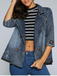 3/4 Sleeve Double-Breasted Broken Hole Denim Jacket - DENIM BLUE