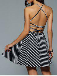 Criss Cross Stripe Backless Skater Dress - BLACK