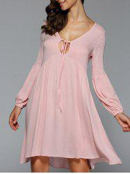 Front Bow Tie Swing Short Dress with Sleeves - NUDE PINK
