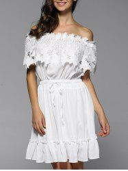 Off Shoulder Flounce Drawstring Lace Panel Dress -