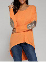 Sequined Elbow High Low Hem Blouse -