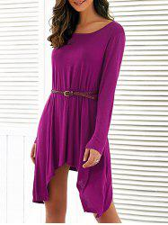 Long Sleeves Asymmetrical Belted Dress -