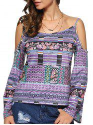 Tribal Print Open Shoulder Long Sleeve Blouse