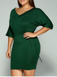 Plus Size Dolman Sleeve Drawstring Waist Bandage Mini Dress