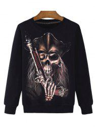 Gun 3D Print Round Neck Long Sleeve Sweatshirt - BLACK 2XL