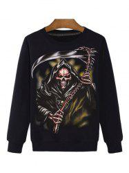 Sickle Skull 3D Print Round Neck Long Sleeve Sweatshirt - BLACK