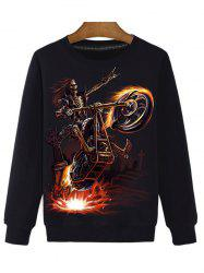 Skeleton 3D Print Round Neck Long Sleeve Sweatshirt