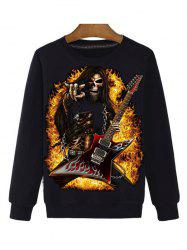 Rock Skeleton 3D Print Round Neck Long Sleeve Sweatshirt