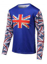 Round Neck Long Sleeves Flag Printed T-Shirt - BLUE 4XL