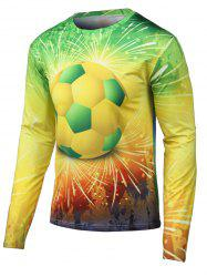 Round Neck Long Sleeves 3D Football Print T-Shirt - YELLOW XL