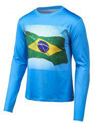 Round Neck Long Sleeves Flag Print T-Shirt