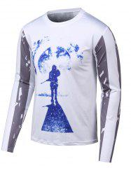 Star Stripe Print Long Sleeves Round Neck T-Shirt -