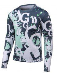Letter Print Long Sleeves Round Neck T-Shirt -