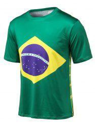 Flag Print Round Neck Short Sleeve T-Shirt