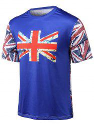 Flag Printed Round Neck Short Sleeve T-Shirt - BLUE 4XL