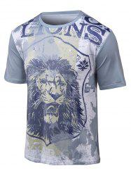 3D Lion Print Round Neck Short Sleeve T-Shirt - GRAY