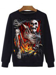 3D Skull Print Round Neck Long Sleeve Sweatshirt - BLACK 3XL