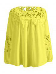 Plus Size Lace Crochet Spliced Blouse - YELLOW