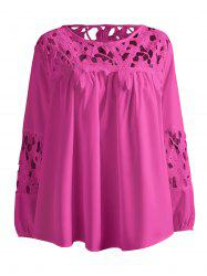 Plus Size Lace Crochet Spliced Blouse - ROSE RED