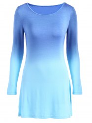 Ombre Color Long Sleeve Mini Dress -