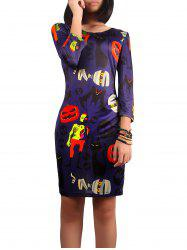 Halloween Ghost Print Dress - PURPLE XL
