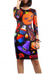 Halloween Jack-O-Lantern Print Dress