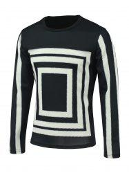 Box and Stripe Print Round Neck Long Sleeve Sweatshirt