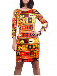 3/4 Sleeve Halloween Pumpkin Lantern Print Dress