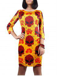 Halloween Skull Print 3/4 Sleeve Dress