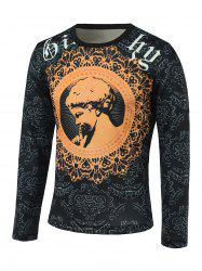 Floral and Figure Print Round Neck Long Sleeve Sweatshirt - COLORMIX 3XL