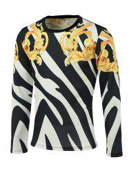 Floral and Color Block Print Round Neck Long Sleeve Sweatshirt - COLORMIX 2XL