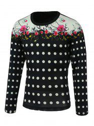 Floral and Polka Dot Print Splicing Design Round Neck Long Sleeve Sweatshirt