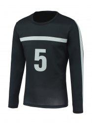 Number Five and Stripe Print Round Neck Long Sleeve Sweatshirt -