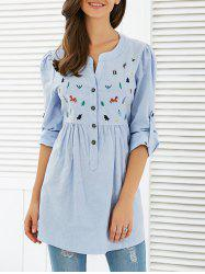 Long Sleeve Cartoon Embroidered Smock Blouse