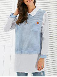Pinstripe Long Sleeve Pocket Blouse