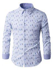 Long Sleeve Anti-Wrinkle Design Printed Shirt - LIGHT BLUE 3XL