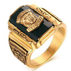 Alloy Geometric Tiger Head Emboss Ring - BLACK