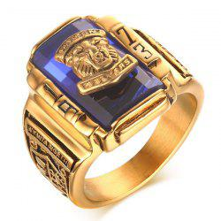 Faux Sapphire Geometric Tiger Head Emboss Ring - BLUE