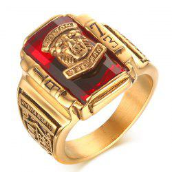 Faux Ruby Geometric Tiger Head Emboss Ring - RED