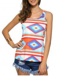 Geometric Color Block Print Racerback Tank Top - COLORMIX XL