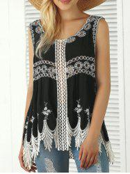 Bohemian Embroidered Crochet Fringed Tank Top