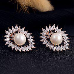 Pair of Faux Pearl Rhinestone Hollowed Earrings -