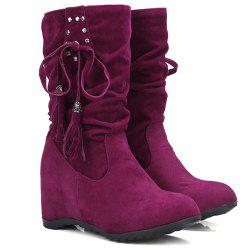 Rivet Slip On Suede Tassels Wedged Short Boots