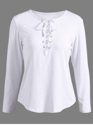 Sleeve Lace-Up long T-shirt - Blanc M